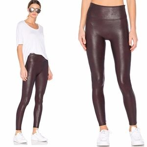 Spanx Faux Leather Coated Leggings in Wine